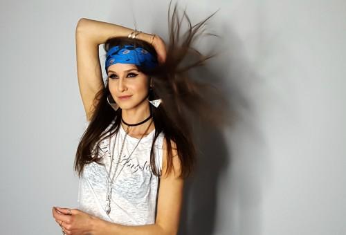 Ana wearing The Change scarf