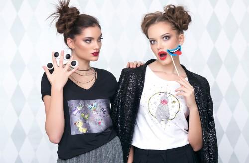 Ruxandra wearing a Circus T-shirt, Andra wearing a Clown T-shirt