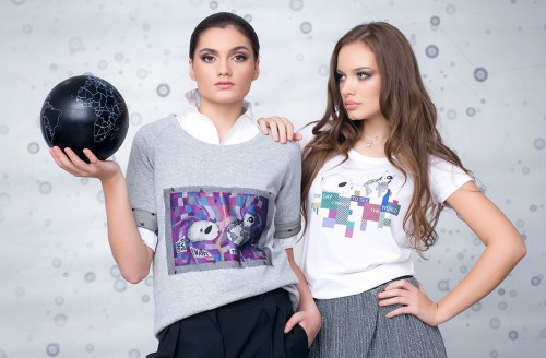Ruxandra wearing a Wishes Sweatshirt, Andra wearing a Wishes T-shirt