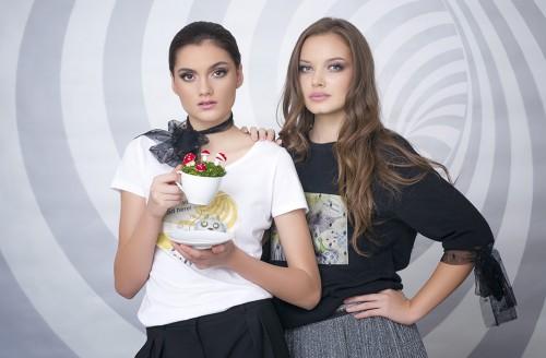 Ruxandra wearing a Mad Cat T-shirt, Andra wearing a Wortex Wonderland Sweatshirt