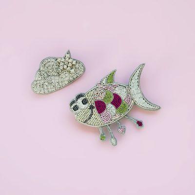 Fish & Cloud Brooch Set