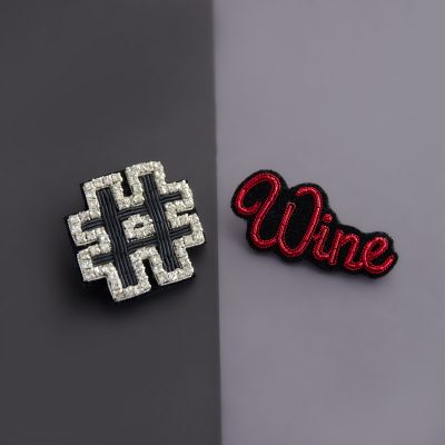 Wine Hashtag Brooch Set
