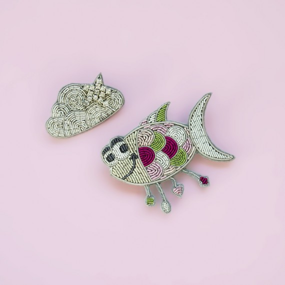 Fish & Cloud Brooch Set