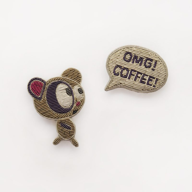 Teddy Bear & Coffee Brooch Set