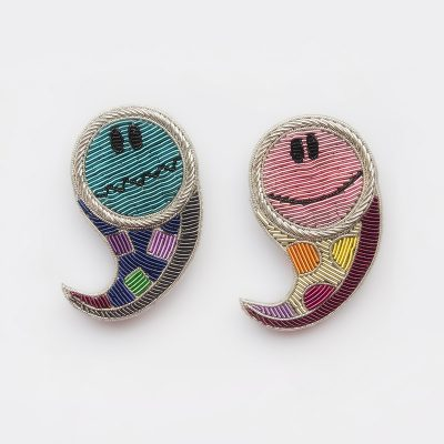 Paisley Happy & Sad Brooch Set
