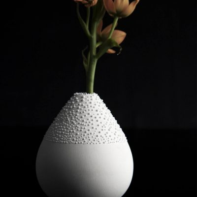 White Beaded Small Vase Set